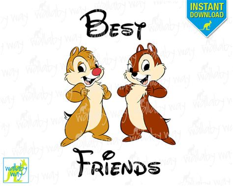 Chip & Dale Best Friends Printable Iron On Transfer or Use as