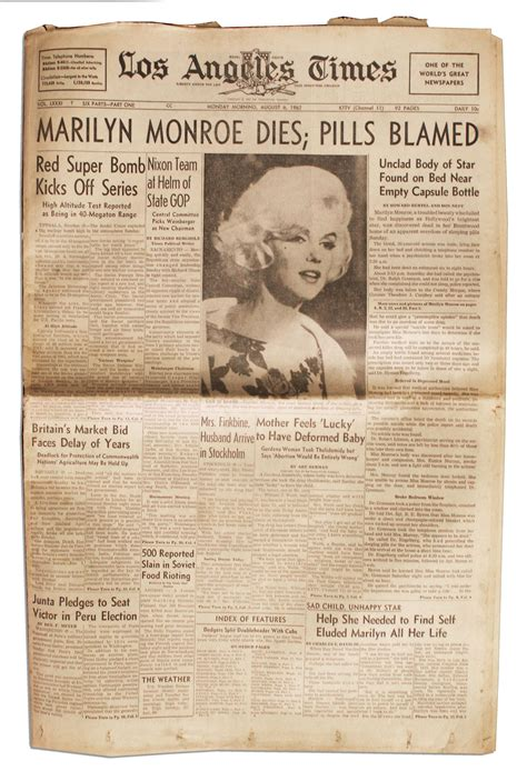 Lot Detail - Marilyn Monroe's Death Covered in the ''Los