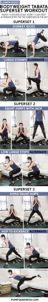 12-Minute Bodyweight Tabata Superset Workout: Lower Body